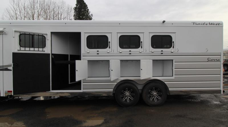 """NEW 2019 Trails West Sierra 13' x 13' Living Quarters w/ Slide-out w/ Dinette - 4 Horse Trailer - Side Tack - Mangers - 8' Wide 7'6"""" Tall - Easy Care Flooring"""