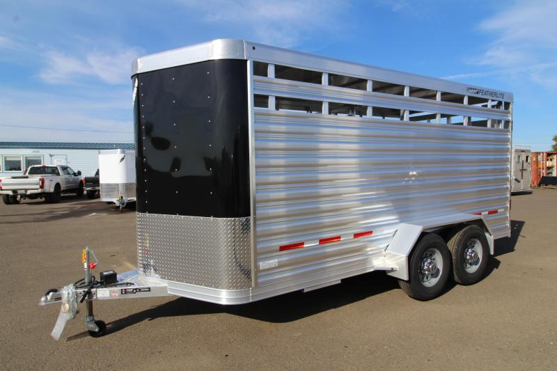 2020 Featherlite 8107 -16' Livestock Trailer - All Aluminum Construction - UPGRADED 7' Height - Rear Sort Door