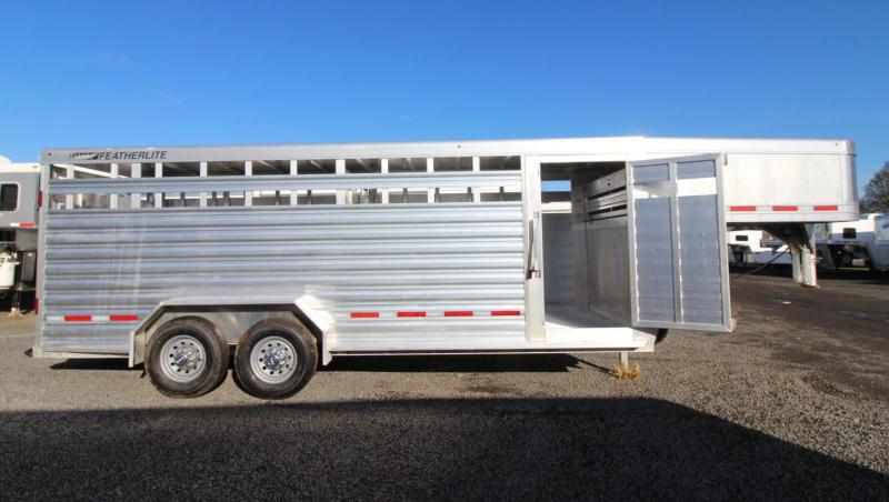 "2019 Featherlite 8127 - All Aluminum 20' Long 7' Wide 6'6"" Tall Livestock Trailer - Sliding Sort Door - PRICE REDUCED $1590"