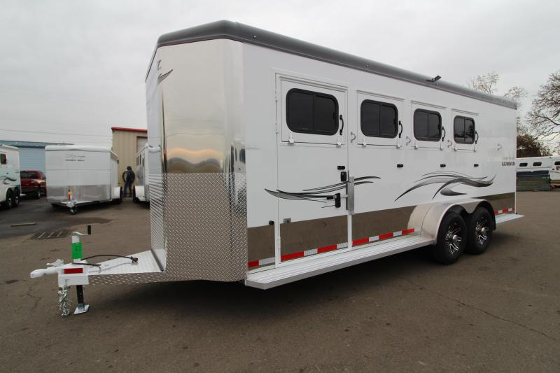 2020 Trails West Sierra Select II 4 Horse Trailer- Drop down feed doors - Lined and insulated roof and walls -  Slam latch aluminum dividers