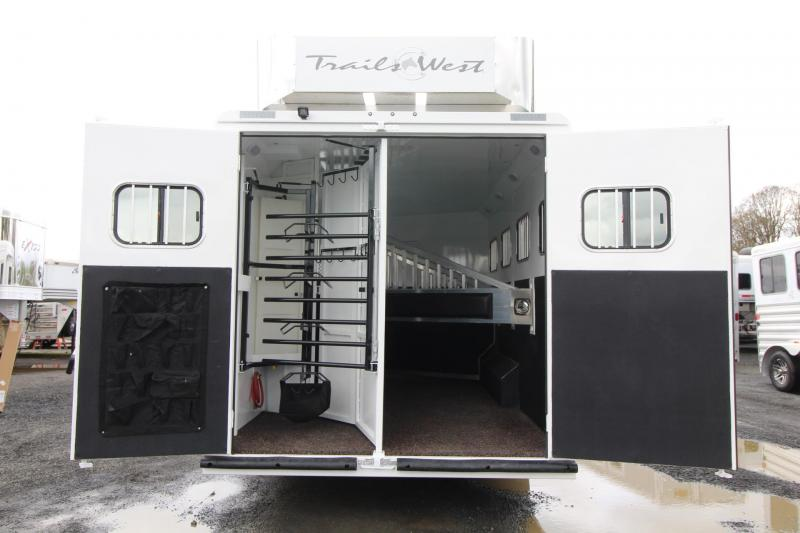 2019 Trails West Sierra 11' x 15' Living Quarters w/ Slide 4 Horse Trailer PRICE REDUCED Generator Ready Hay Rack