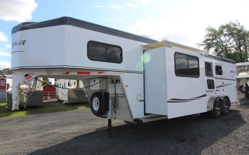 2015 Trails West Sierra 8x13 Living Quarters w/ Slide out 3 Horse Trailer