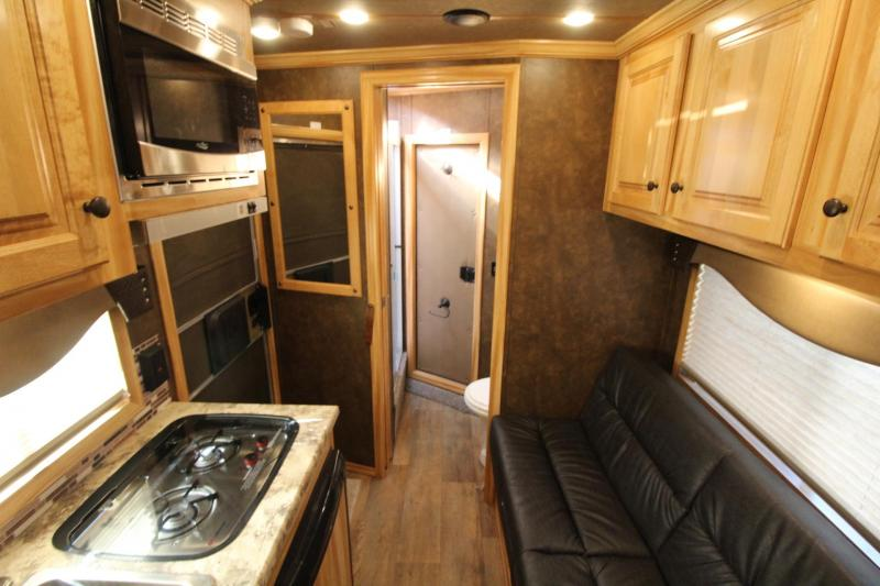 2020 Exiss 7306 - 6ft sw Living Quarters 3 Horse Trailer - Easy Care Flooring - Electric Awning - Stud Divider