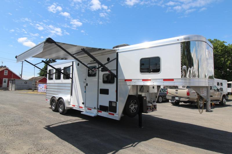 2020 Exiss Escape 7306 - 6ft SW Living Quarters 3 Horse Trailer - Easy Care Flooring - Stud Divider - Electric Awning PRICE REDUCED 2405