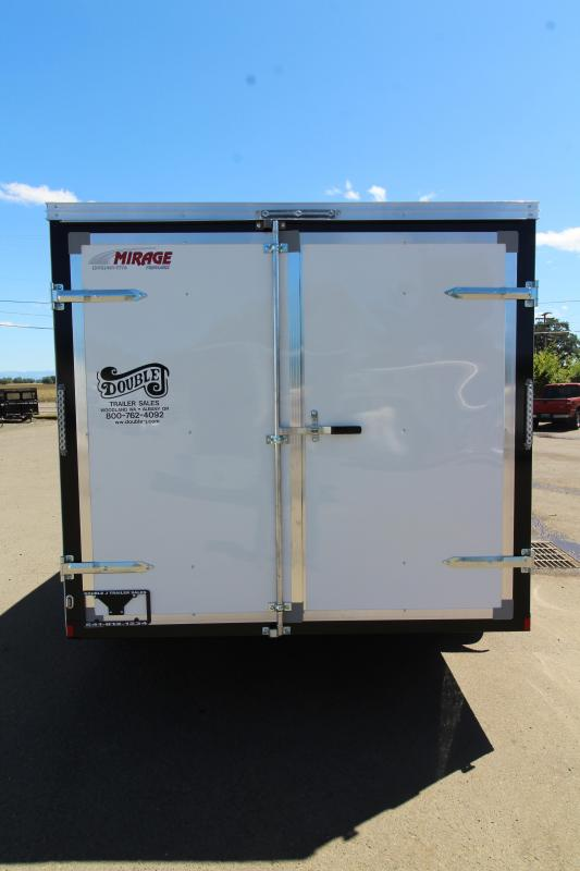 NEW 2019 Mirage Xpo 7' x 14' Enclosed Cargo Trailer- Crystal White Exterior-  Man Door w/ Bar Lock -  Flat Roof - Radius Front -  Side Air Flow Vents - Tandem Axle