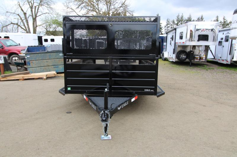 """NEW 2019 Eagle 6x12 Single Axle Ultra Classic Utility Trailer with Landscape Package - 2' x 2' Front Opening Lockable Tool Box with 6"""" Tray on Top - 6 Shovel & Rake Holders - Ladder Rack - Trailer Brakes - Ribbed Metal Sides - 2"""" x 6"""" Fir Decking PRICE RE"""