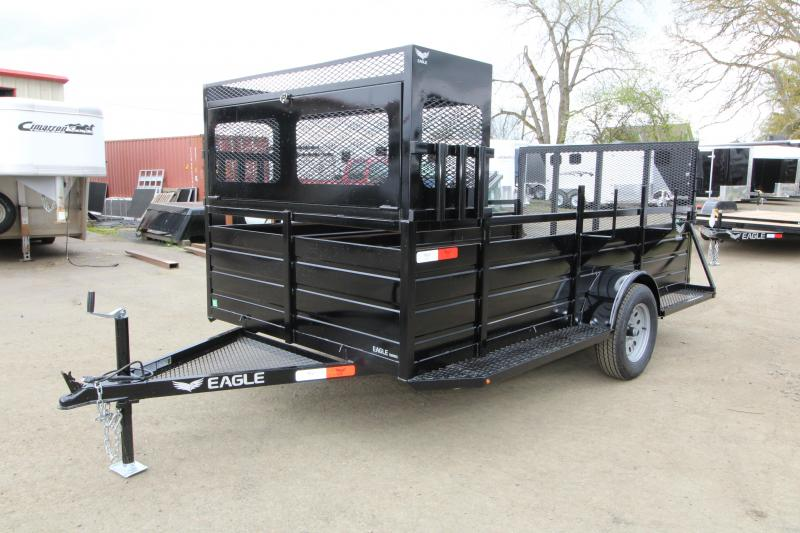 "NEW 2019 Eagle 6x12 Single Axle Ultra Classic Utility Trailer with Landscape Package - 2' x 2' Front Opening Lockable Tool Box with 6"" Tray on Top - 6 Shovel & Rake Holders - Ladder Rack - Trailer Brakes - Ribbed Metal Sides - 2"" x 6"" Fir Decking"