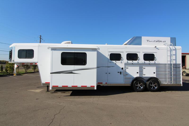 "NEW 2019 Trails West Sierra 11' x 15'8"" Living Quarters - 8 Wide with Slide Out 3 Horse Trailer - Steel Frame Aluminum Skin - Mangers- Hay Rack and Ladder - Power Awning Upgrade - Upgraded Hoof Grip Easy Care Flooring"