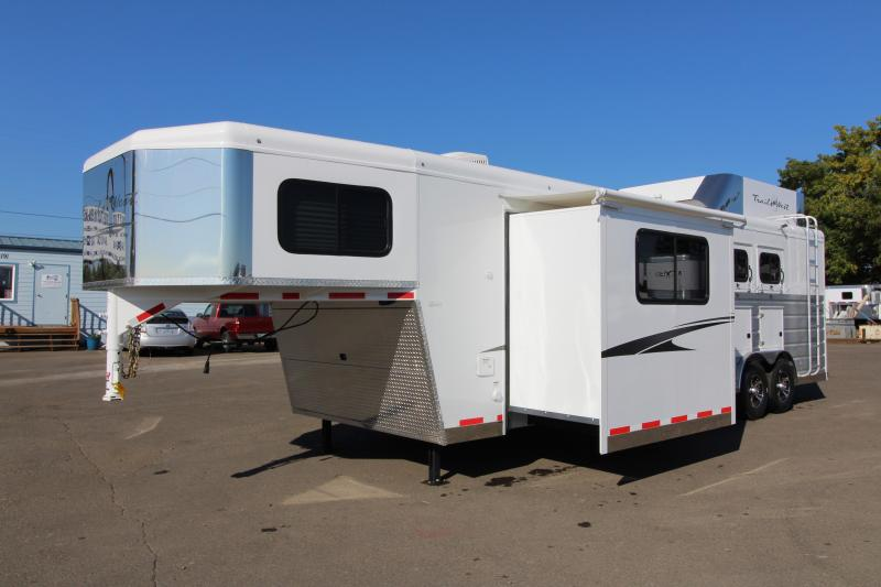 NEW 2019 Trails West Sierra 11 x 15 L.Q. - 8 Wide with Slide Out 3 Horse Trailer - Steel Frame Aluminum Skin - Mangers- Hay Rack and Ladder - Power Awning Upgrade - Upgraded Easy Care Flooring