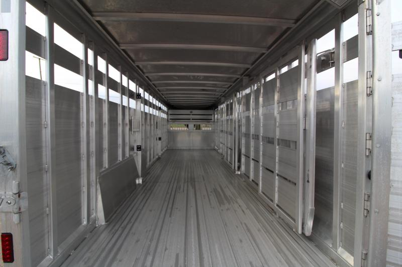 NEW 2019 Featherlite 8127 Stock Trailer 24' - All Aluminum - Dual Center Gate with Slider - Rear Gate with Slider - Air Vents in Drop Wall