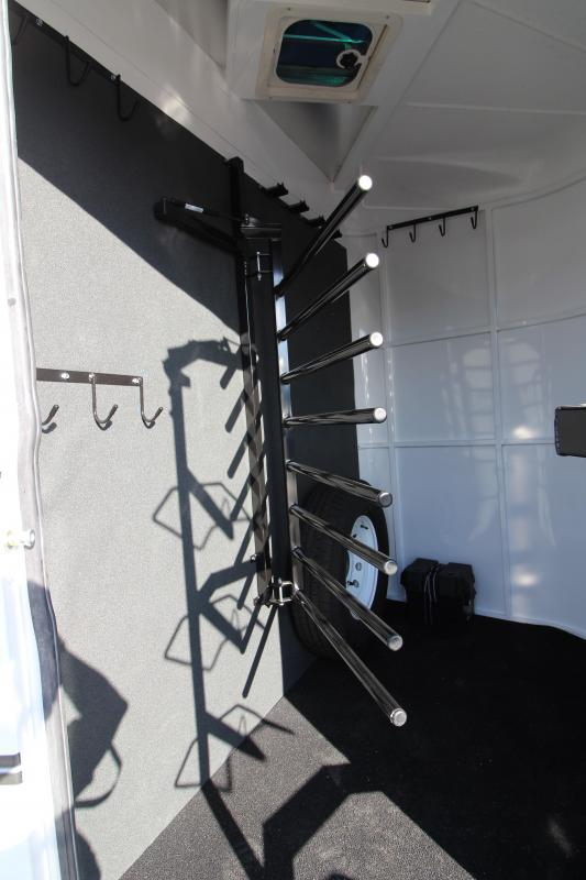 "NEW 2019 Trails West Classic - 7'6"" Tall 4-Horse Steel Frame Aluminum Skin Trailer - Escape Door - Convenience Package"