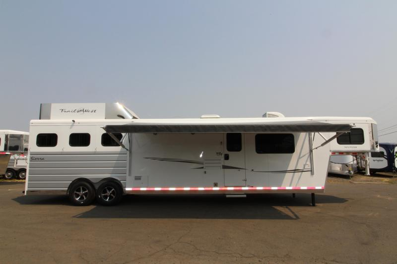 NEW 2019 Trails West Sierra 3 Horse Trailer - Hoof Grip Easy Care Flooring Upgrade - 15' x 19' Living Quarter with Slide-out - Oven - Generator Ready - Hay Rack - Mangers - Upgraded Premium Western Interior PRICE REDUCED BY $1000
