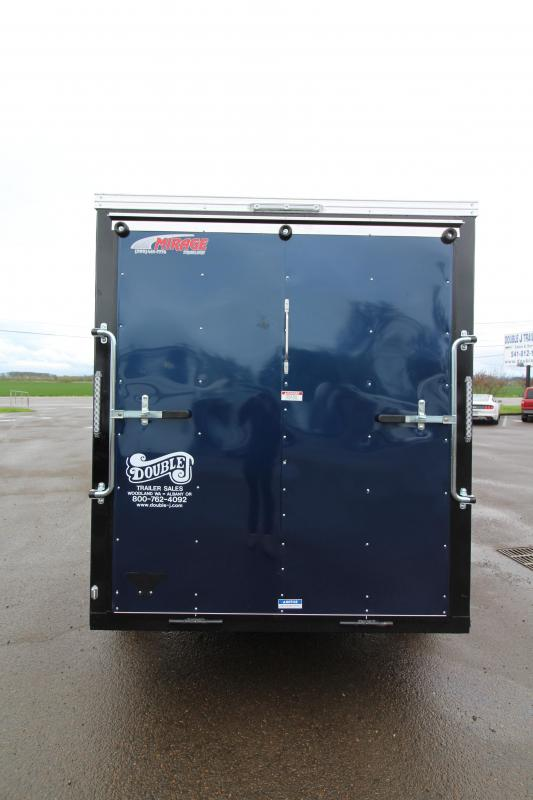NEW 2019 Mirage Xpres 6 x 10 SA Utility Trailer - Curb-side RV Man Door - Ramp Rear Door- Diamond Ice/Indigo Blue Exterior Skin - Single Spring Idler Axle - Flat Roof - V Nose