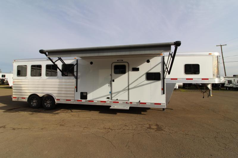 """NEW 2018 Exiss 8410 10' L.Q. 4 Horse Trailer - PRICE REDUCED BY $4300- All Aluminum - 7'8"""" Tall - Stud Wall - Easy Care Flooring - Large Refrigerator - Power Awning"""