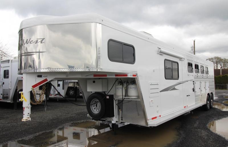 2019 Trails West Sierra 10' x 15' Living Quarters w/ Slide - 4 Horse Trailer PRICE REDUCED - Drop Down Feed Doors - Hoof Grip Flooring