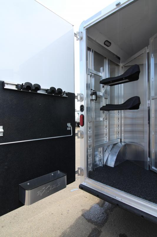 NEW 2019 Exiss 8210 - 2 Horse Trailer with 10' Living Quarters with Dinette in Slide Out - Onan p4500i Generator - Swing Out Saddle Rack - Easy Care Flooring - Lined and Insulated Horse Area - All Aluminum Construction PRICE REDUCED $3950