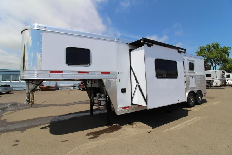 NEW 2019 Exiss 8210 - 2 Horse Trailer with 10' Living Quarters with Dinette in Slide Out - Swing Out Saddle Rack - Easy Care Flooring - Lined and Insulated Horse Area - All Aluminum Construction PRICE REDUCED $2950