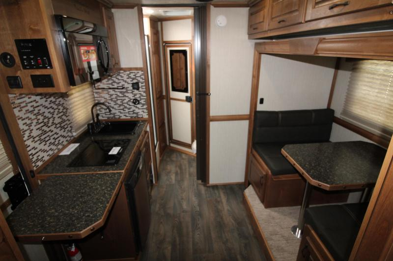 2020 Trails West Sierra 8' x 13' Living Quarters 2 Horse Trailer- Hoof Grip Easy Care Flooring - Preliminary Photos - Slide Out - Dinette - Lined and Insulated Horse Area - Power Awning Upgrade - Side Escape Door - Folding Back Tack - Hoof Grip Easy Care