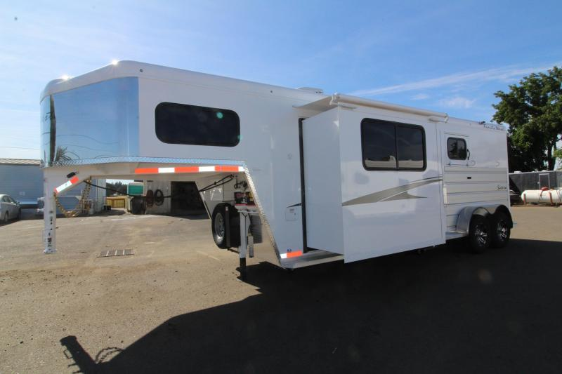 2020 Trails West Sierra 8x13 LQ 2 Horse Trailer- Easy Care Flooring - Preliminary Photos - Slide Out - Dinette - Lined and Insulated Horse Area - Power Awning Upgrade - Side Escape Door - Folding Back Tack - Easy Care Flooring