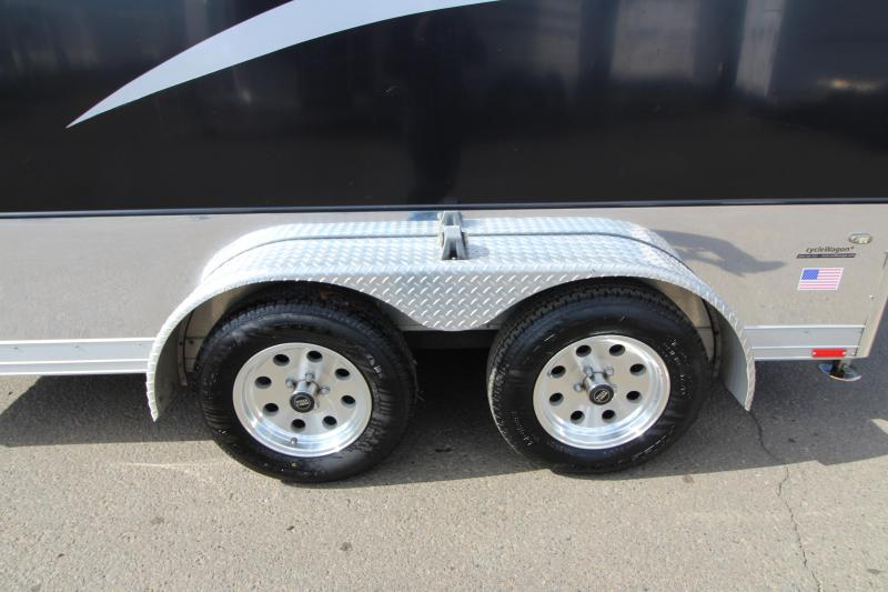 2008 Wells Cargo Badlands Motorcycle Trailer- 500lb wall mounted tie offs - Rear corner post stabilizer jacks - Flow through side wall vents - Exclusive safety package