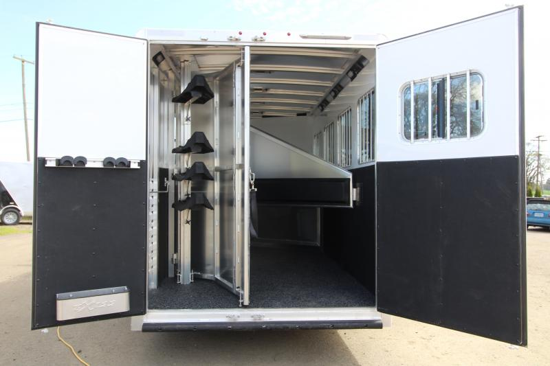 "NEW 2019 Exiss 7410 - 10' SW L.Q. with Slide Out 4 Horse All Aluminum Trailer - Easy Care Flooring Upgrade - Upgraded Interior - Dinette - Stud Wall - Escape Door - 7'8"" Tall"