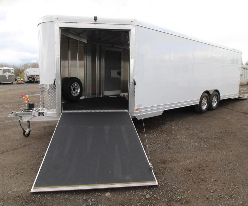 NEW Featherlite 4926 Enclosed V-Nose w/ Front Ramp Rear Ramp Car - Quad or Snowmobile Trailer w/ Nudo Flooring PRICE REDUCED $1950- All Aluminum