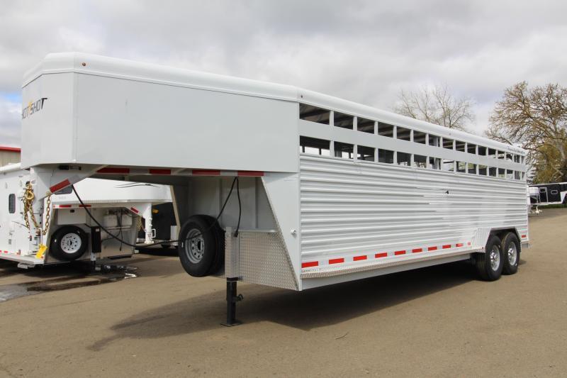 NEW 2019 Trails West 24' Hotshot Steel Livestock Trailer - Solid Center Gate - Rear Gate with Slider