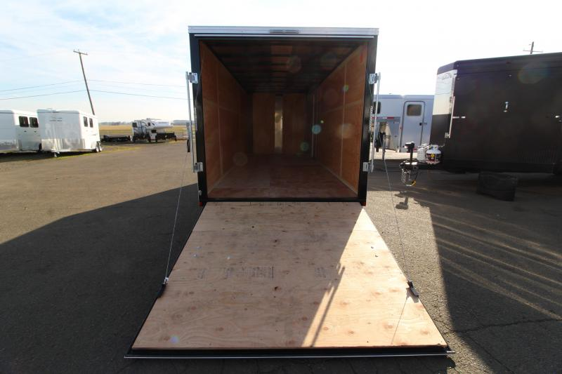 2020 Mirage Xpres 7' x 18' Enclosed Cargo Trailer - Rear Ramp Door Upgrade - Crystal White Exterior - V Nose - Flat Roof