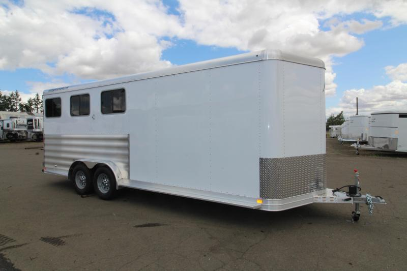 """2020 Featherlite 9551 - 3 Horse Trailer - WARMBLOOD SIZED - 7'6"""" Tall and Wide - All Aluminum - Swing Out Saddle Rack - HUGE Tack Room"""