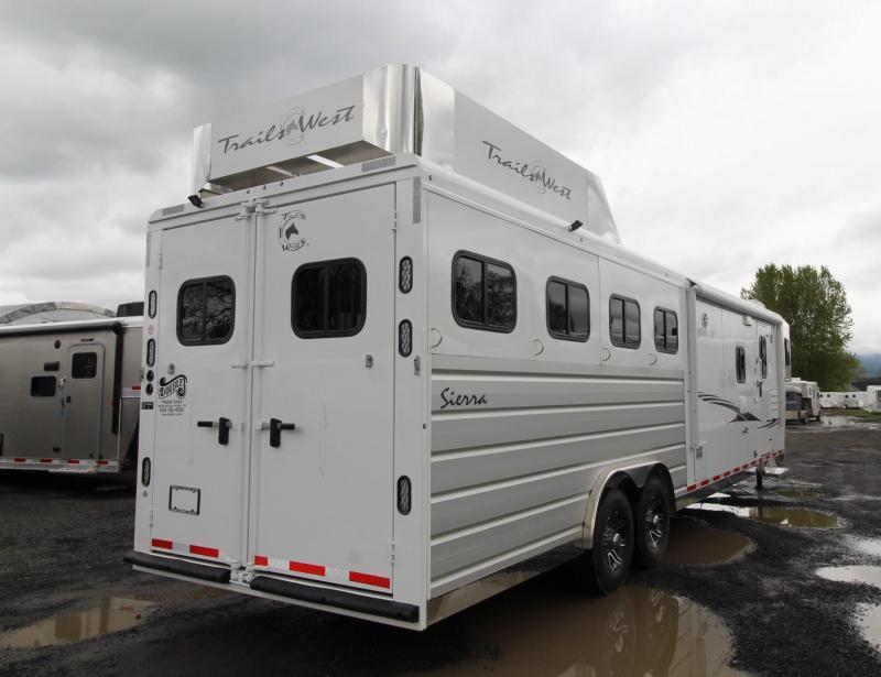 2019 Trails West Sierra 11' x 15' Living Quarters w/ Slide 4 Horse Trailer PRICE REDUCED Generator Ready Hay Rack