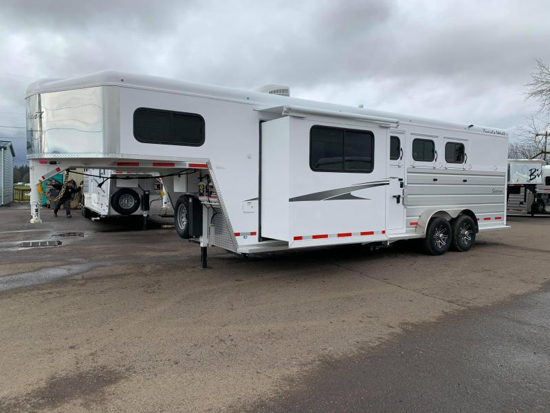 2020 Trails West Sierra 3 Horse Trailer 8' x 13' LQ w/ Slide - Dinette - Swing Out Saddle Rack - Lined and Insulated Horse Area - PRICE REDUCED