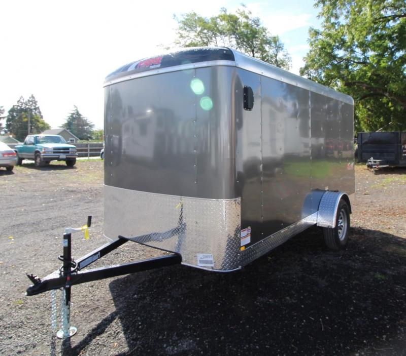 2020 Mirage Xcel 6x12 SA Cargo Enclosed Cargo Trailer - Rear ramp door - Barlock mandoor - Domed roof - Radius front - Grey exterior