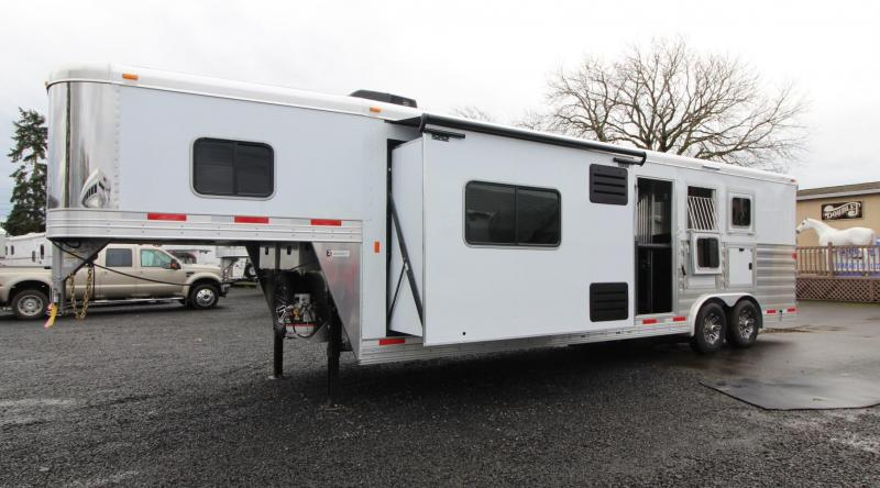 2019 Exiss Endeavor 8312 Living Quarters w/ 12' Short Wall 3 Horse Trailer - Easy Care Flooring - All Aluminum - Spare Tire - Decor Package PRICE REDUCED $2,000