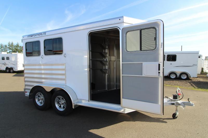2020 Featherlite 7441 - 2 Horse All Aluminum Trailer - Drop Down Windows - Wave Panel Exterior Siding - Fully Enclosed Tack Room - Folding Rear Tack
