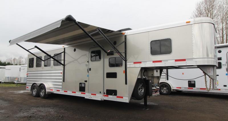 "2019 Exiss Escape 7408 Living Quarters 8' 6"" Short Wall - 4 Horse Trailer - $REDUCED$5,400 - Easy Care Flooring - All  Aluminum Construction"
