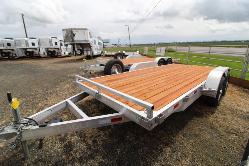 2020 Eagle 7' x 16' Aluminum Flatbed Trailer - Removable fender - Pressure treated wood decking- Extended ramps