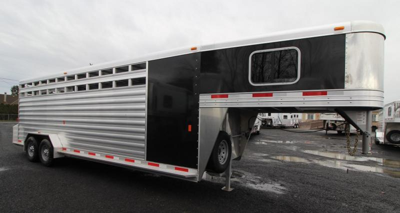 "2019 Exiss 7024 Stock Combo - 4' Enclosed Tack Room - All Aluminum Livestock Trailer - 7'2"" Tall - PRICE REDUCED $2100"