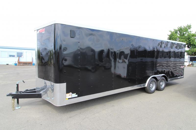 2020 Mirage Xpres 8.5' X 24' Car/Racing Trailer - Tandem Axle - Black Exterior - Flat Roof- V-Nose-  Car Carrier Package