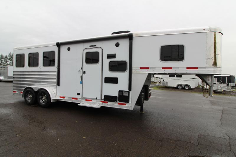 2020 Exiss 7306 3 Horse Living Quarters Trailer - Easy Care Flooring - All Aluminum Construction