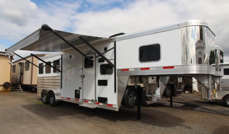 2020 Exiss Escape 7308 - 8ft SW Living Quarters 3 Horse Trailer - Easy Care Flooring - Electric Awning - Dinette - First Stall Escape Door PRICE REDUCED $2,000