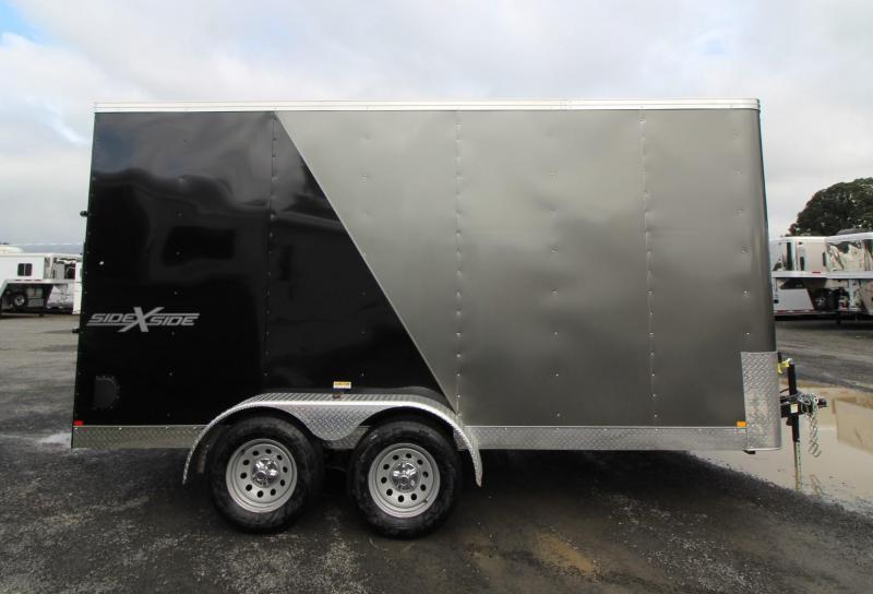 "2020 Mirage Xpres 7x14 TA SxS Enclosed Cargo Trailer - Side by side package - Rear ramp door - 7 way round plug - 6"" Extra height - Flat roof - V nose"