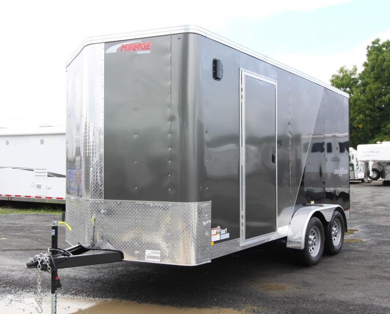 """2020 Mirage Xpres 7x14 TA SxS Enclosed Cargo Trailer - Side by side package - Rear ramp door - 7 way round plug - 6"""" Extra height - Flat roof - V nose"""