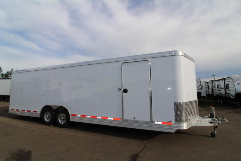 """NEW 2019 Featherlite 4926 28' Enclosed Car Trailer - All Aluminum - Rear Ramp with Cable Assist - 8'6"""" Wide 7' Tall - PRICE REDUCED BY $2759"""