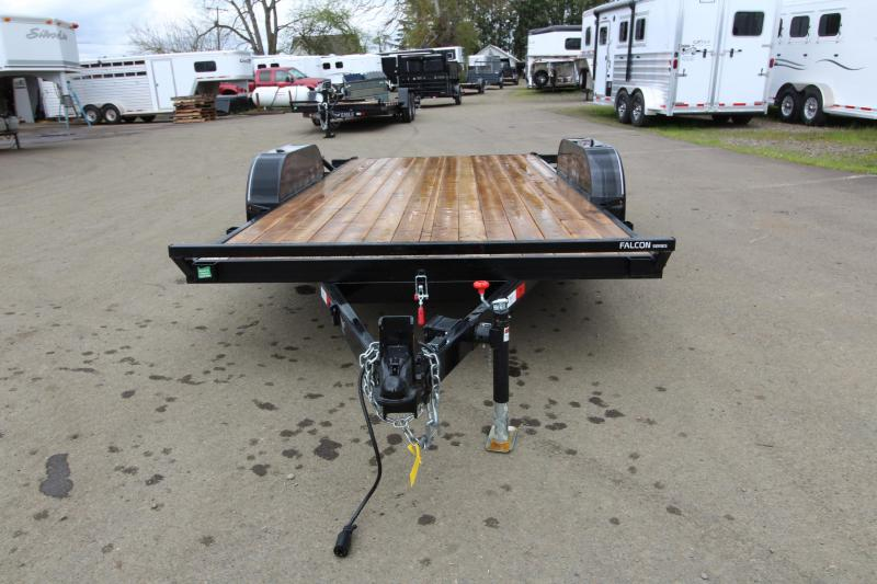 "NEW 2019 Eagle 7x16 Falcon Tiltdeck 7K Flatbed Trailer - 4"" Drop axles - Stack pockets and 4 D-Rings - Brakes on both axles - Hydraulic cushioning cylinder"