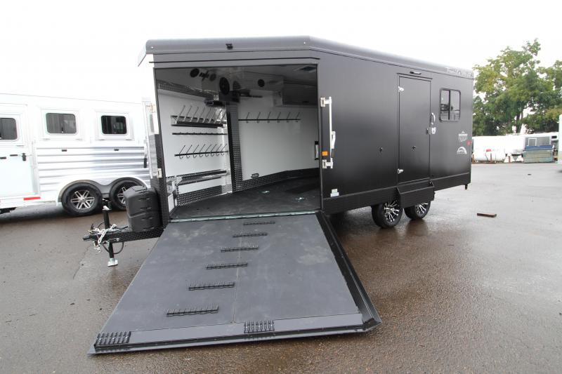 2020 Trails West RPM 20' Snowmobile Trailer - Black Exterior - Power Ramp - Front and Back Beaver Tail -  Insulated Walls and Roof