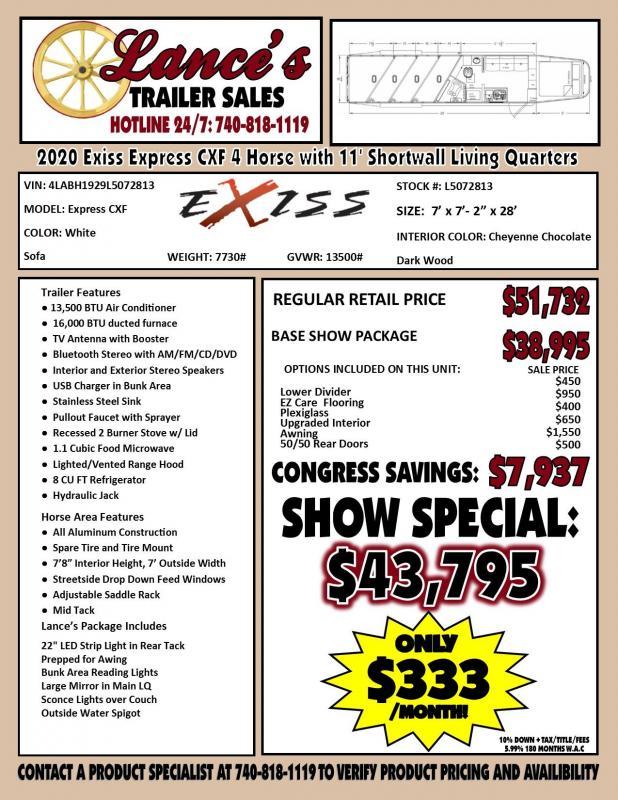 2020 Exiss Express CXF 4 Horse w/ 11' Shortwall Living Quarters