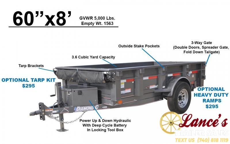 "2020 DIAMOND C 60"" x 8Ft. DUMP TRAILER"
