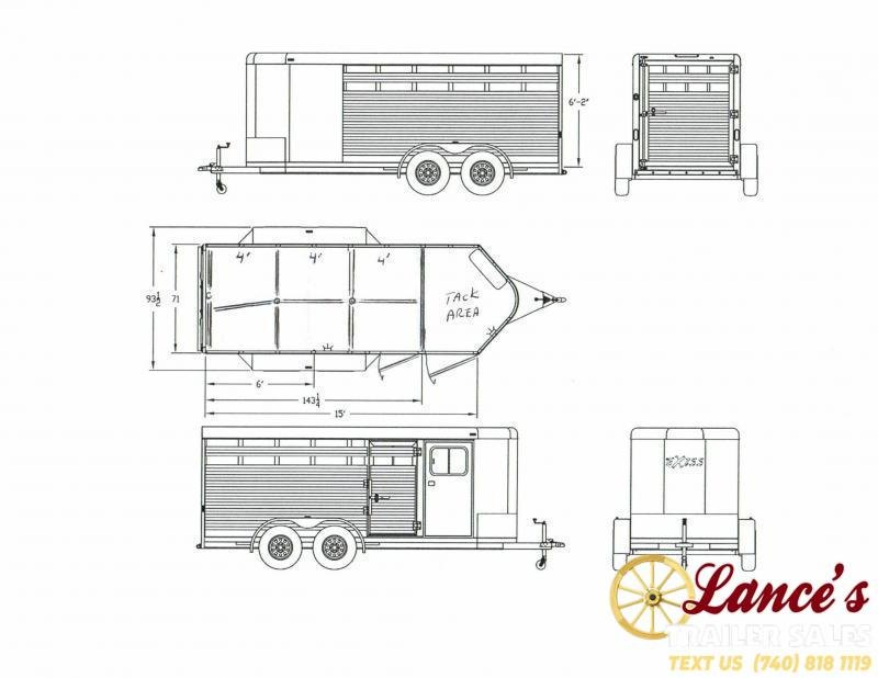 2020 Exiss 15Ft. Mini Combo Exhibitor Low Pro Show Bumper Pull Livestock Trailer