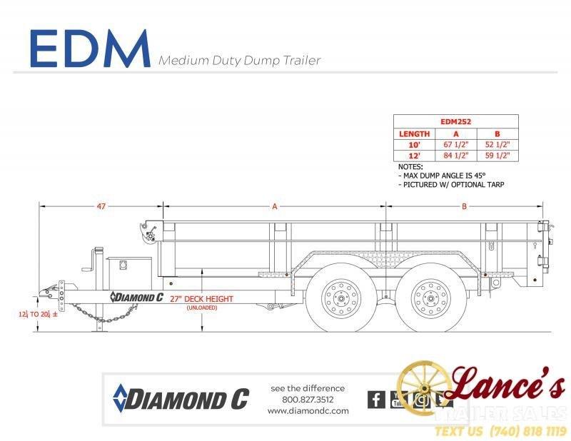 "2020 Diamond C 77"" x 12Ft. Dump Trailer"