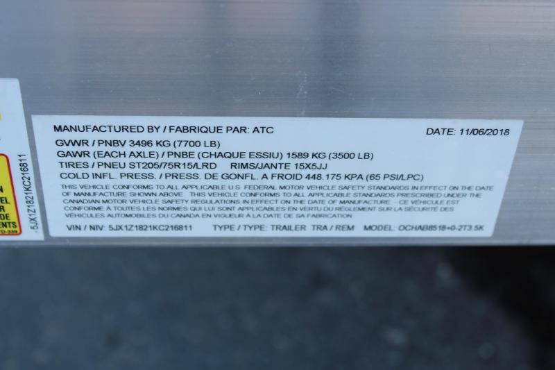 """2019 ATC Arrow 82""""x18' Aluminum Open Car Hauler-7K-Torsion"""